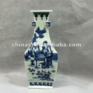 Blue and white triangular form porcelain jar RYUK06