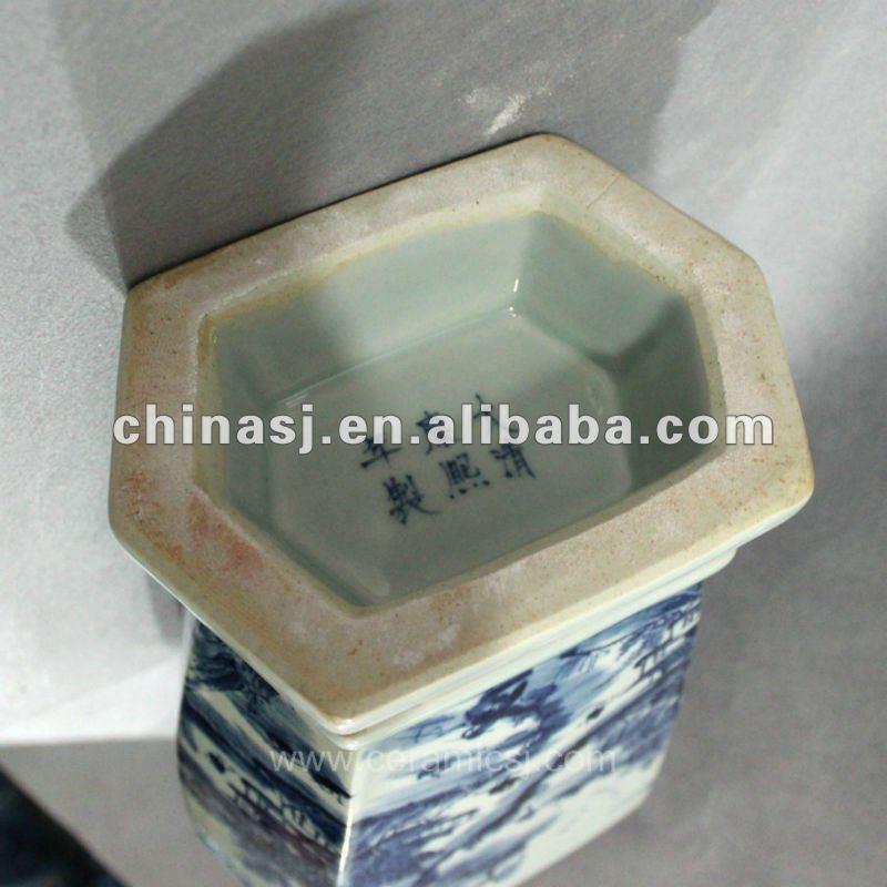 Blue and white hexagon porcelain jar RYUK08