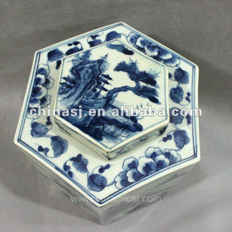 RYUK10 Blue and white hexagon porcelain jar