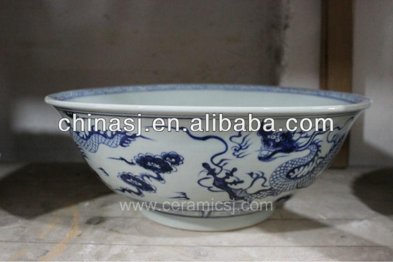 blue white ceramic flower pot RYVH14
