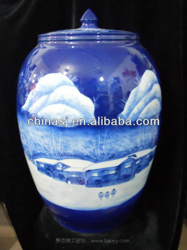 high quality blue white large ceramic jar with lid WRYLX04