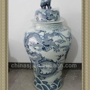 RYWY02 120cm tall Blue and White Dragon Design Ceramic Jar