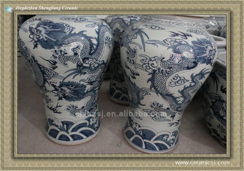 RYWY02 120cm tall Blue and White Dragon Design Ceramic Jar