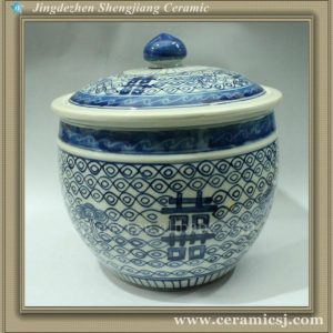 "RYWM03 9"" double happiness ceramic storage jar"