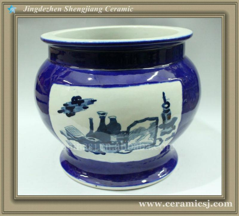 RYWM04 blue and white porcelain flower planter and fish bowl