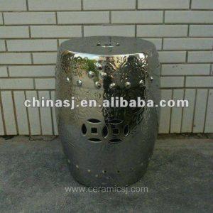 Hand Made silver Ceramic Garden Stool WRYCN65