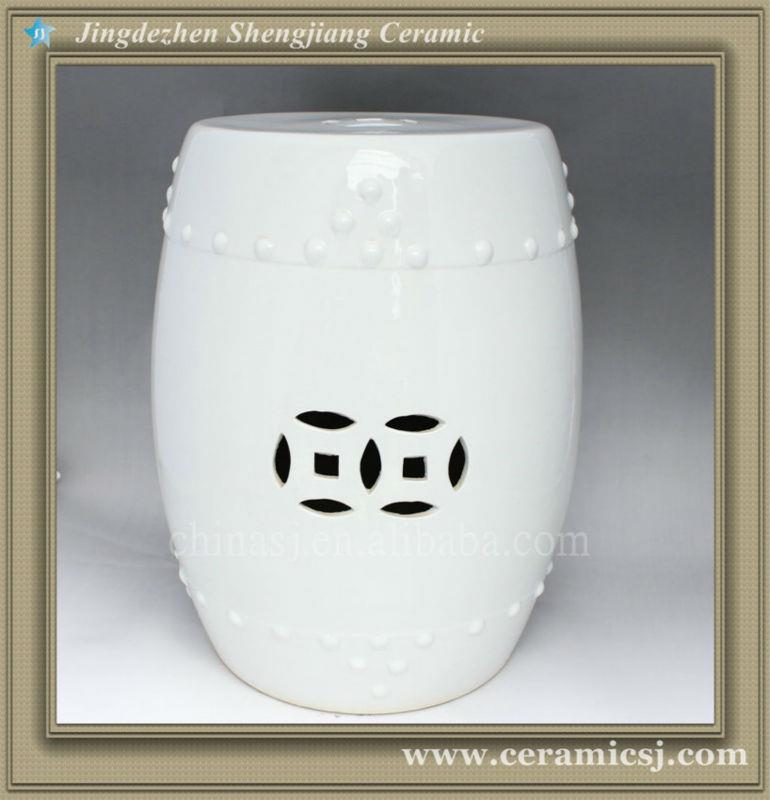 WRYCN52 17inch White Ceramic Garden Outdoor Stool