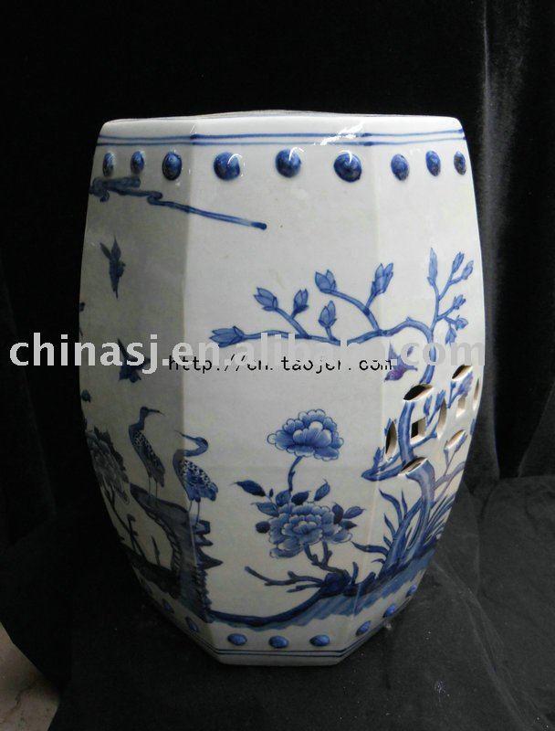 WRYLU02 Octagon peony fung-hwang Garden Stool