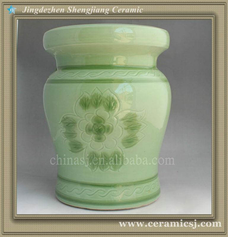 RYAZ337 H40cm Green ceramic garden stool