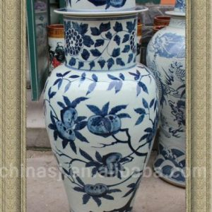 RYWY09 47 inch Big Hand Made Chinese Peach Design Porcelain Jar