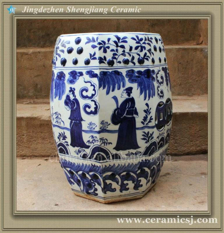 RYWH01 eight sided blue white ceramic furniture Patio Seat