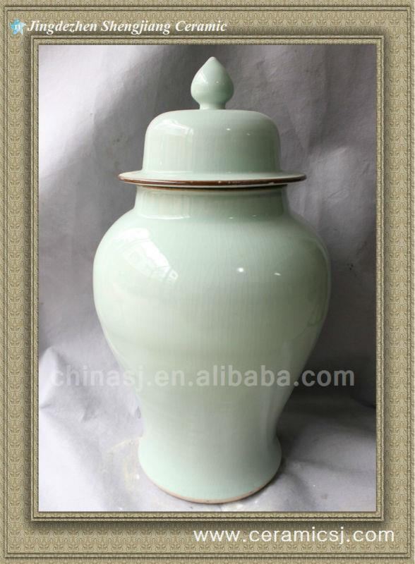 RYWY03 white crackled porcelain jar with lid