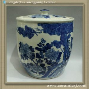 RYWI03 11 inch blue and white Asian flower pot
