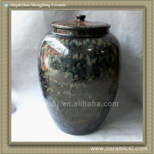 RYWO13 black porcelain jar with lid