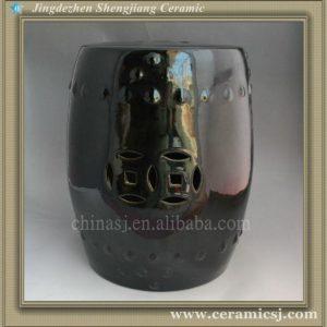 RYNQ64 Black Ceramic Garden Stool