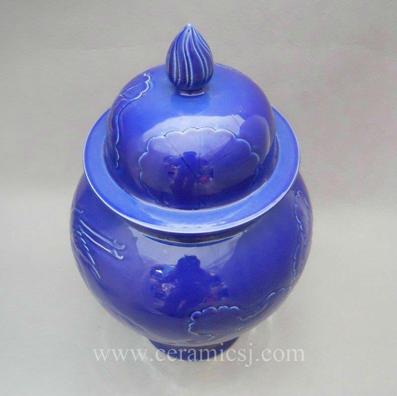 WRYMA18 Blue engraved water lily porcelain ginger jar