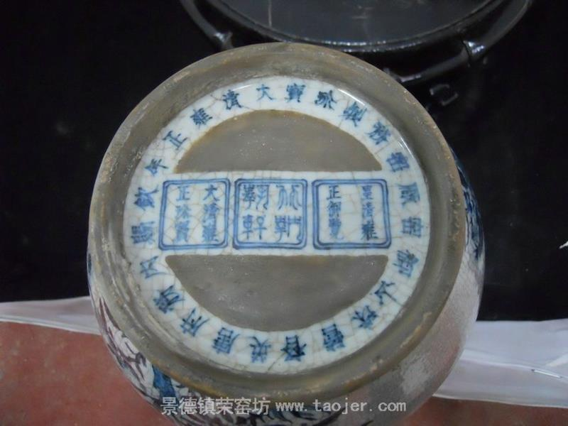 WRYJV03 Chinese Crackled Blue and White Porcelain Vase flower and bird