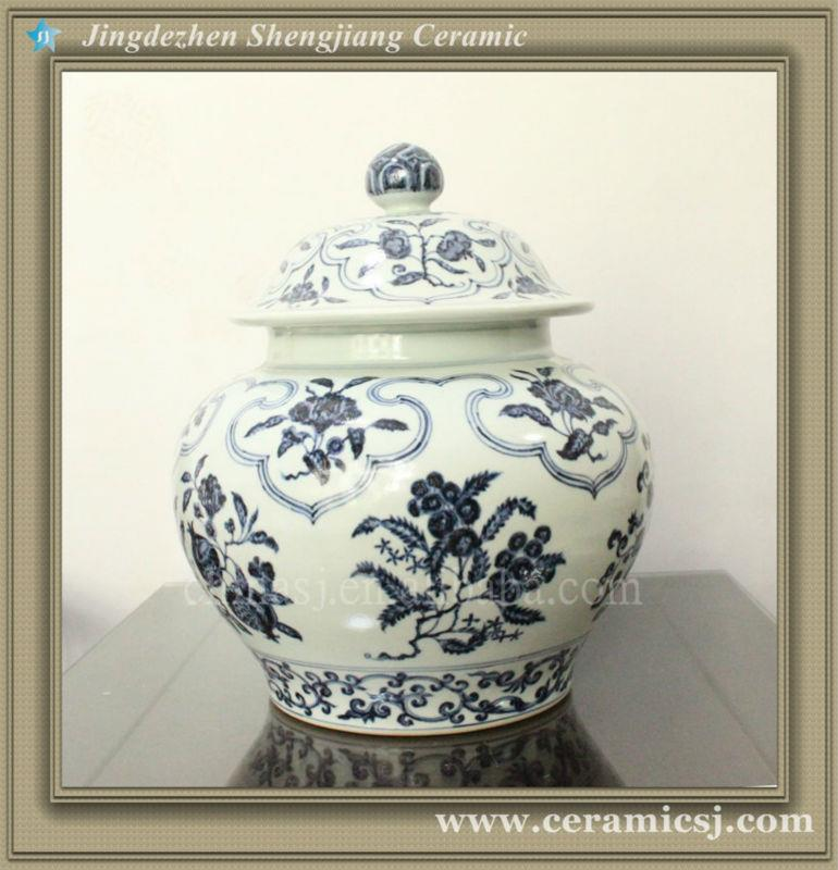 RYWB08 Ming reproduction oriental blue and white ceramic ginger jar