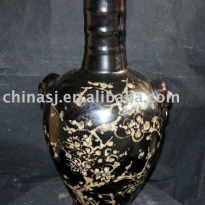 Antique style long neck black brown flower vase with ears WRYNE03