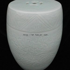 WRYMA01 light celadon engraved Ceramic Garden Stool