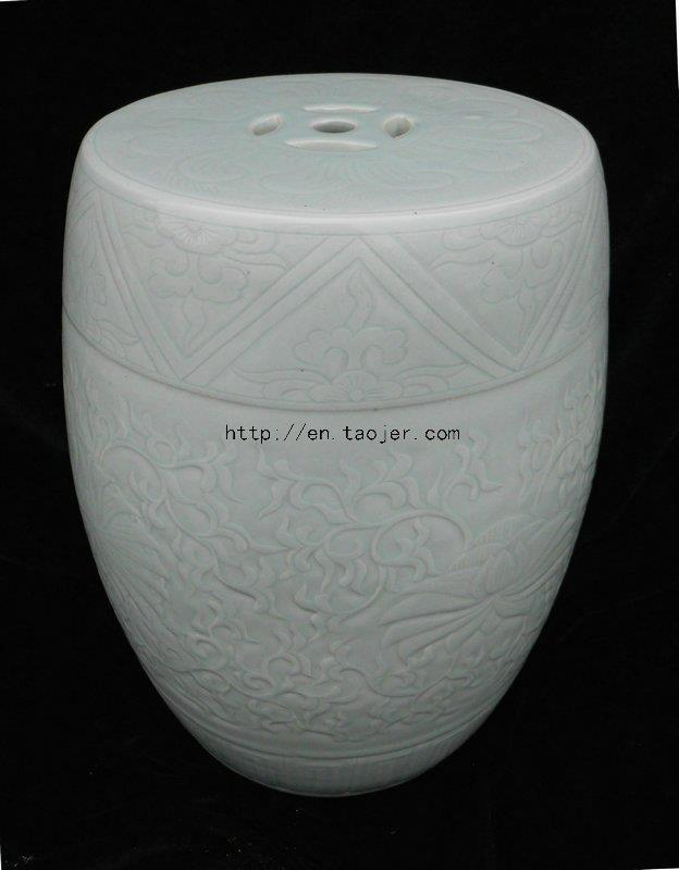 light celadon engraved Ceramic Garden Stool WRYMA01