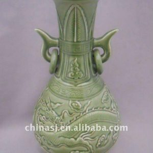 WRYPL04 Green Chinese dragon design Porcelain Vase