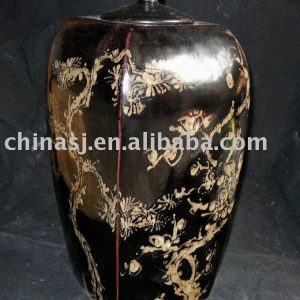 WRYNE01 black brown flower design old Chinese porcelain ginger jar