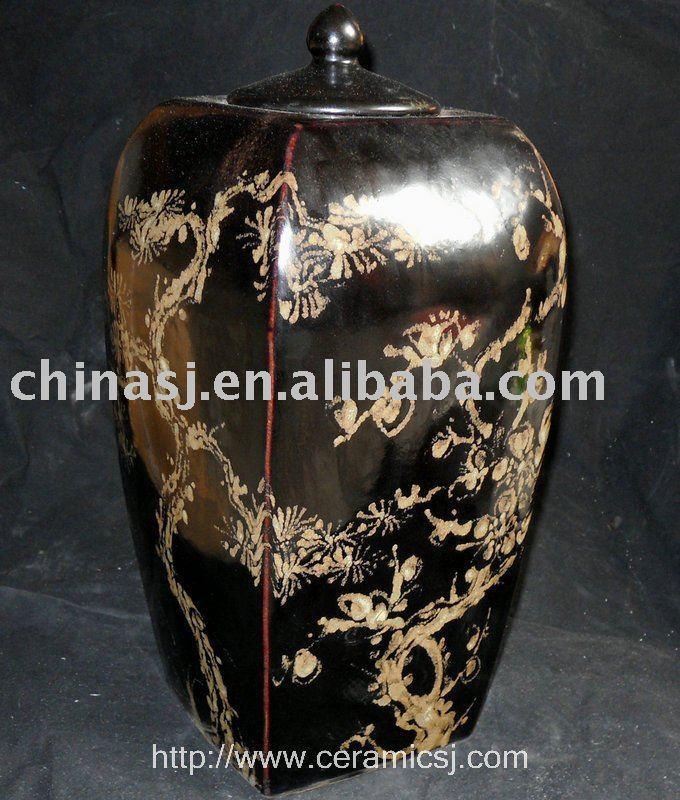 WRYNE01 black brown flower design old Chinese porcelain ginger jar