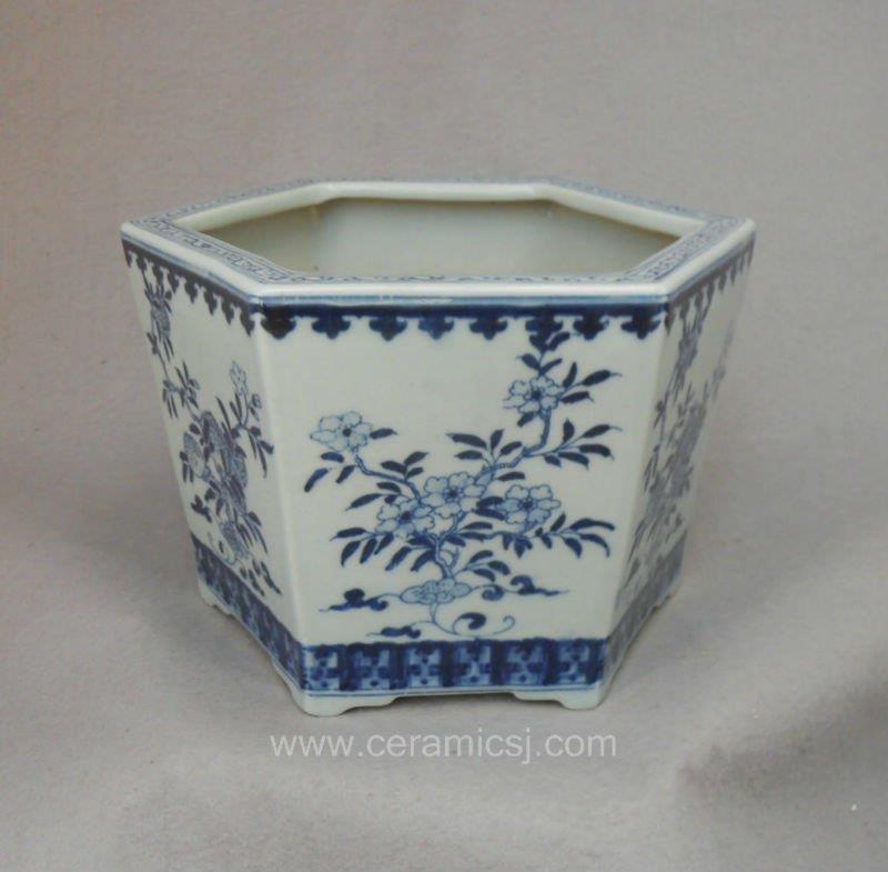 Blue And White Hexagon Flower Pot Wrysz04 Jingdezhen