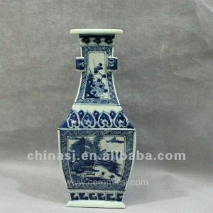 RYUK04 Blue and white triangular form porcelain jar