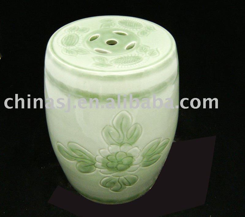 Celadon green Ceramic Garden Stool floral WRYAZ218
