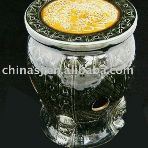 Ceramic Garden Stool hand carved with lion WRYAZ213