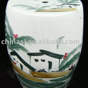 Ceramic Garden Stool hand painted house WRYAZ215