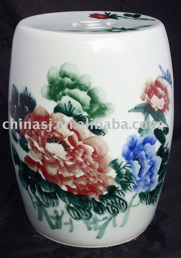 WRYAY207 Ceramic Garden Stool painted with peony flower