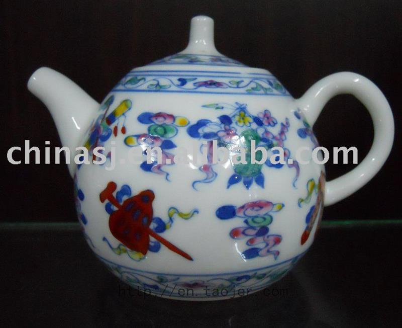 Porcelain Tea Pot with Colorful Pattern RYG84