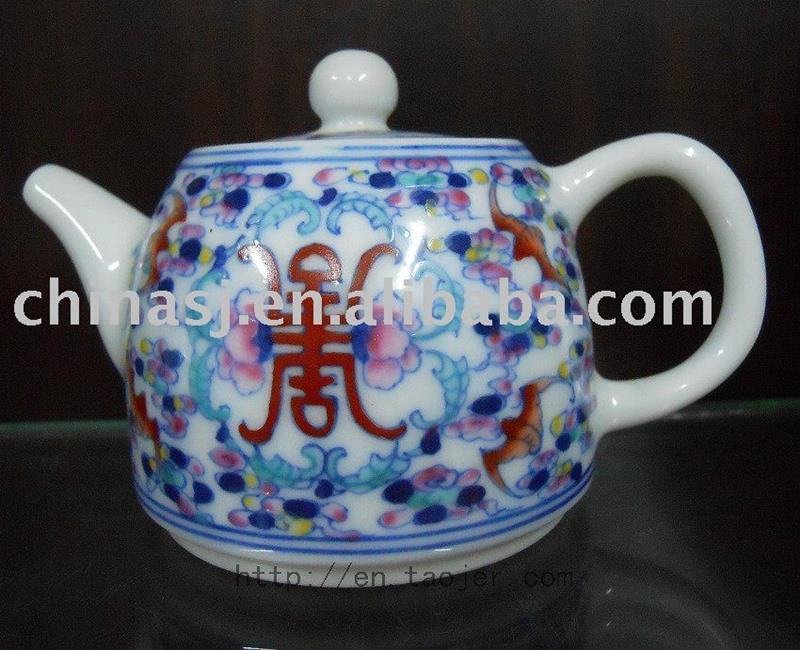 Porcelain Tea Pot with Colorful Pattern RYG85