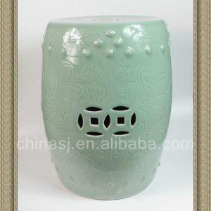 RYCN102 18inch Hand carved floral design celadon Ceramic Garden Stool