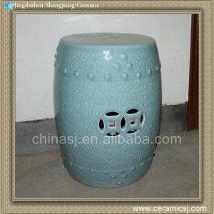 RYCN103 17inch Ceramic Carved flower Garden Stool