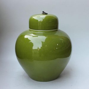 RYDB35 Ceramic jar Pot, green with a metal lid