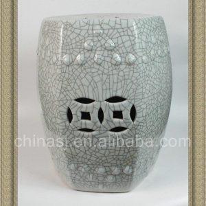 RYHD18 16inch Ceramic Crackle Stool