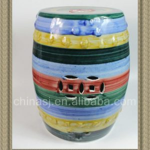 RYKB108 17inch Ceramic Garden Stool, Stripe Design