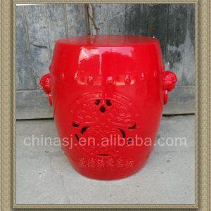 RYNQ40 19inch Red glazed Carved Ceramic Garden Stool