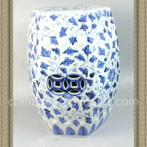 RYNQ47 18.5inch Blue and White Floral Ceramic Shower Stool