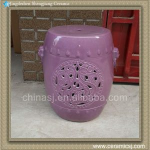 RYNQ53 17inch Hand carved Purple Ceramic Stool