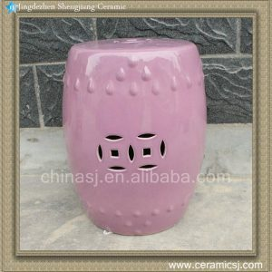 RYNQ82 17inch Purple glazed Ceramic Garden Stool