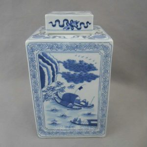 RYQQ04 Blue and White Square Jar