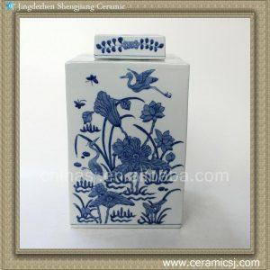 RYQQ09 12inch Hand painted Blue and White Square Jar