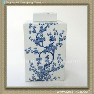 RYQQ10 12inch Blue and White hand painted plum blossom Square Jar