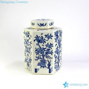 RYQQ11 12inch Hand painted Blue and White Pomegranate design Jar