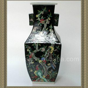 RYQQ17 17inch Hand painted Qing dynasty reproduction Plain tricolour Ceramic Vase